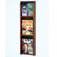 3 Magazine/6 Brochure Wall Display with Brochure Inserts - Mahogany