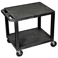 24 Inch 2 Shelf Mobile Plastic Rolling Medical Utility (Service) Cart