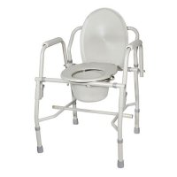 Bedside Commode with Padded Arms - Steel Drop Arm