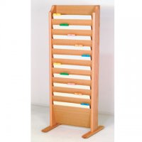 Free Standing 10 Pocket Legal Size Chart Rack and File Holder - Light Oak