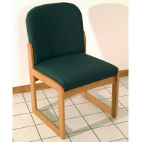 Office Waiting Room Armless Guest Chair - Medium Oak - Arch Green