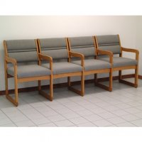 Reception and Waiting Room Four Seat Chair w/Center Arms - Medium Oak - Charc