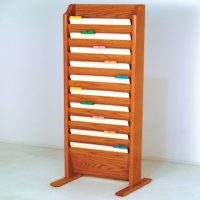 Free Standing 10 Pocket Legal Size Chart Rack and File Holder - Medium Oak