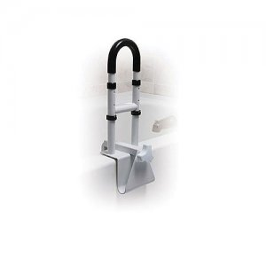 Bath Tub Safety Rail - Adjustable Height Clamp on - White