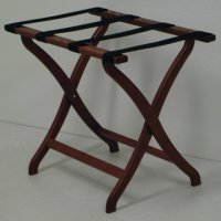 Designer Curve Leg Luggage Rack in Mahogany - Black Straps