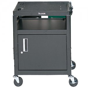 Black Adjustable Audio Visual (AV) Utility Cart: Locking Cabinet