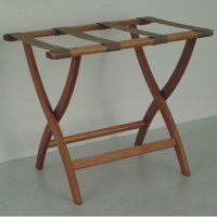 Designer Curve Leg Luggage Rack in Medium Oak - Tan Straps
