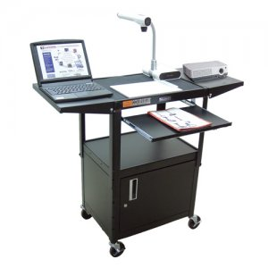 Audio Visual Utility Cart, Locking Cabinet, Adjustable Height, Keyboard and Laptop Shelves