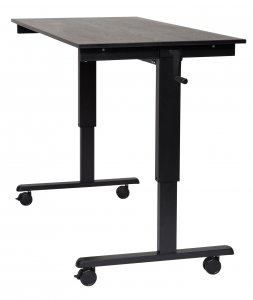 "DMD Adjustable Standing Desk, 60"" W, Sit or Stand Up Workstation, Black Oak, Black Frame"