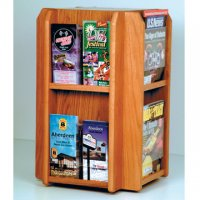 Spinning Counter Display 8 Magazine/16 Brochure Pockets - Medium Oak