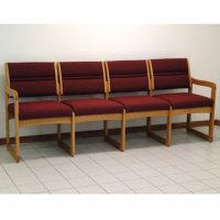 Office Waiting Room Four Seat Sofa - Medium Oak - Cabernet Burgundy