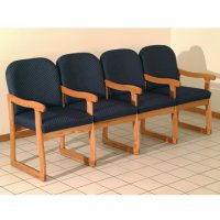 Office Waiting Room Four Seat Chair w/Center Arms - Medium Oak - Arch