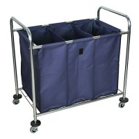 Commercial Rolling Canvas Laundry Utility Cart on Wheels with Compartments - Navy HL15