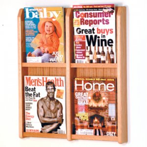 4 Magazine Wall Display - Light Oak