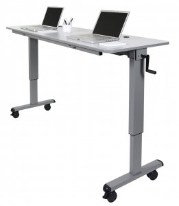 "DMD Adjustable Flip Top Table, Sit or Standing Desk, 72"" Wide Workstation, Crank Handle"