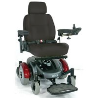 EC Mid Wheel Drive Electric Power Wheelchair - Burgundy - 18 inch Seat