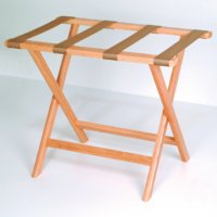 Deluxe Straight Leg Luggage Rack in Light Oak - Tan Straps
