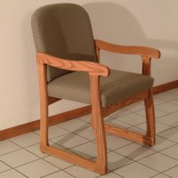 Office Waiting Room Guest Chair - Medium Oak - Arch Khaki