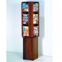 Spinning Floor Display 12 Magazine/24 Brochure Pockets - Mahogany