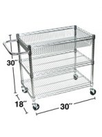 Large Metal Wire Utility Cart with Interchangeable Tub Tray Shelf