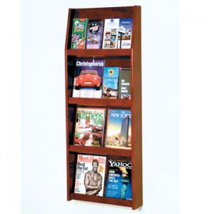 16 Pocket Literature Display - 4Hx4W - Mahogany