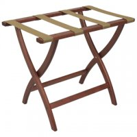 Designer Curve Leg Luggage Rack in Mahogany - Tan Straps