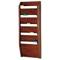 Chart and File Rack/Holder, Tapered Bottom Wall Mounted, 5 Pocket, Letter Size, Oak Wood Finish