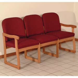 Office Waiting Room Three Seat Sofa - Medium Oak - Arch Wine