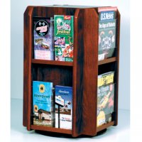 Spinning Counter Display 8 Magazine/16 Brochure Pockets - Mahogany