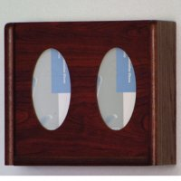 2 Pocket Glove/Tissue Box Holder - Oval - Mahogany