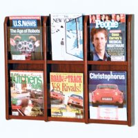 6 Magazine Wall Display - Mahogany