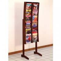 12 Pocket Mahogany and Acrylic Curved Literature Floor Display Rack