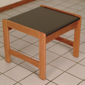 End Table w/ Black Granite Look Top - Medium Oak