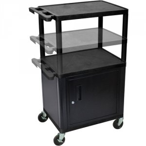 Adjustable Multi Height AV Utility Cart with 3 Shelves and Cabinet