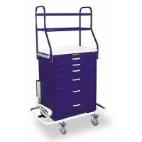 6 Drawer Specialty Medical Anesthesia Cart - Overhead Shelving