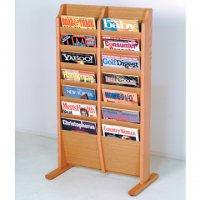 Free Standing 14 Pocket Magazine Rack - Light Oak