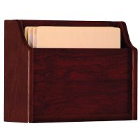 Chart and File Holder, Deep Pocket, Square Bottom Wall or Desktop, 1 Pocket, Letter Size, Oak Wood Finish