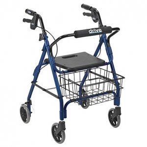 Deluxe Rollator with Plastic Seat and Lever Brake - Blue