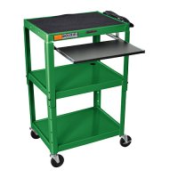 Green Adjustable Audio Visual (AV) Cart: Keyboard Drawer / Shelf