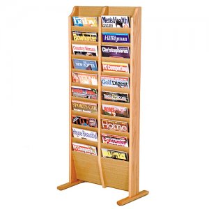 20 Pocket Wooden Floor / Display Magazine or Literature Rack