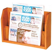 Newspaper Display Rack, Counter or Table Top, 2 Pocket Holder, Wood Oak Finish