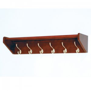 36 Inch Solid Oak Coat & Hat Rack With 6 Brass Hooks - Mahogany