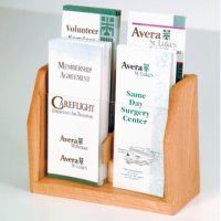 Countertop 4 Pocket Brochure Display - Light Oak