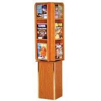 Rotating Wooden (12) Magazine / (24) Brochure Floor Display Rack