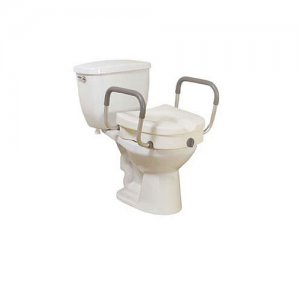 Toilet Seat (Raised) with Tool Free Removable Padded Arms