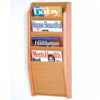 4 Pocket Wall Mount Magazine Rack - Light Oak