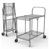 DMD Heavy Duty Two Shelf Wire Collapisble Utility Cart, 200lb Weight Capacity