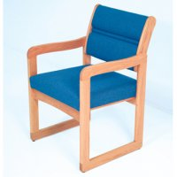 Reception and Waiting Room Chair - Light Oak - Powder Blue