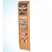 10 Pocket Wall Mount Magazine Rack - Light Oak