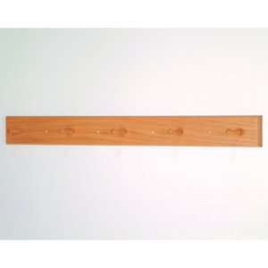 5 Peg Coat Rack with Wood Pegs - Light Oak